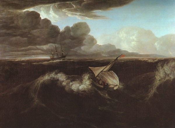 An oil painting by Washington Allston of ships in a storm at sea, 1804.