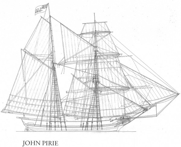 reconstructed ship plans of the ship John Pirie
