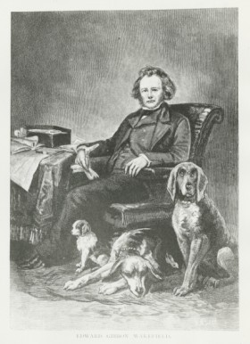 Portrait of Edward Gibbon Wakefield sitting with his three dogs
