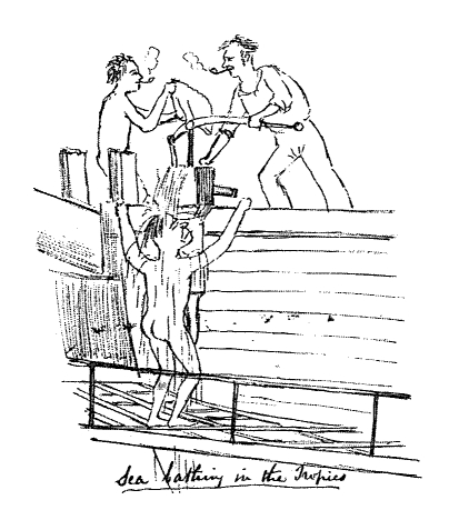 1849 sketch of men bathing on deck.