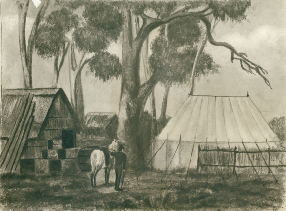 Scene: Robert Thomas's tent and rush hut