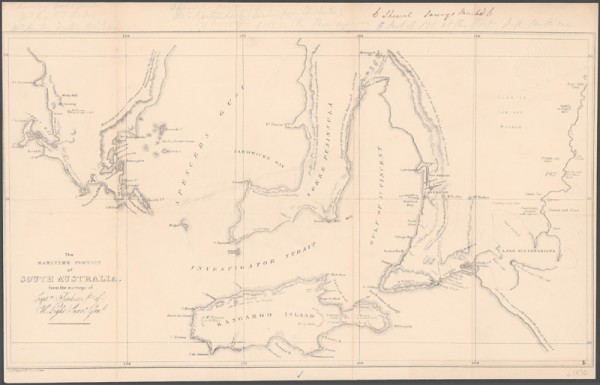 The maritime portion of South Australia from surveys of Captn. Flinders and Col. Light, Survr Genl.
